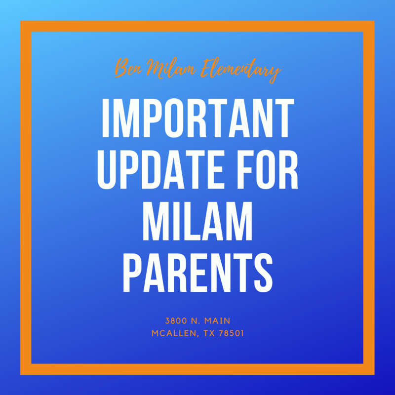 Important Update for Milam Parents