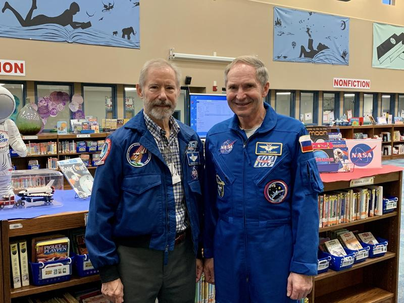Astronaut Brewster Shaw and Cosmonaut Valeri Tokarev visited students at Smith Elementary as part of ASE Community Day.