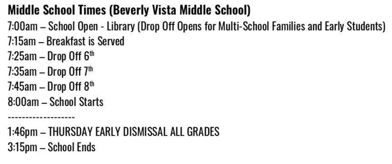 BVMS School Times