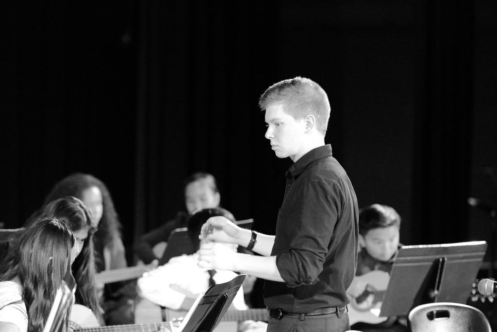 Black and white picture of music teacher, Mr. Lauchli.