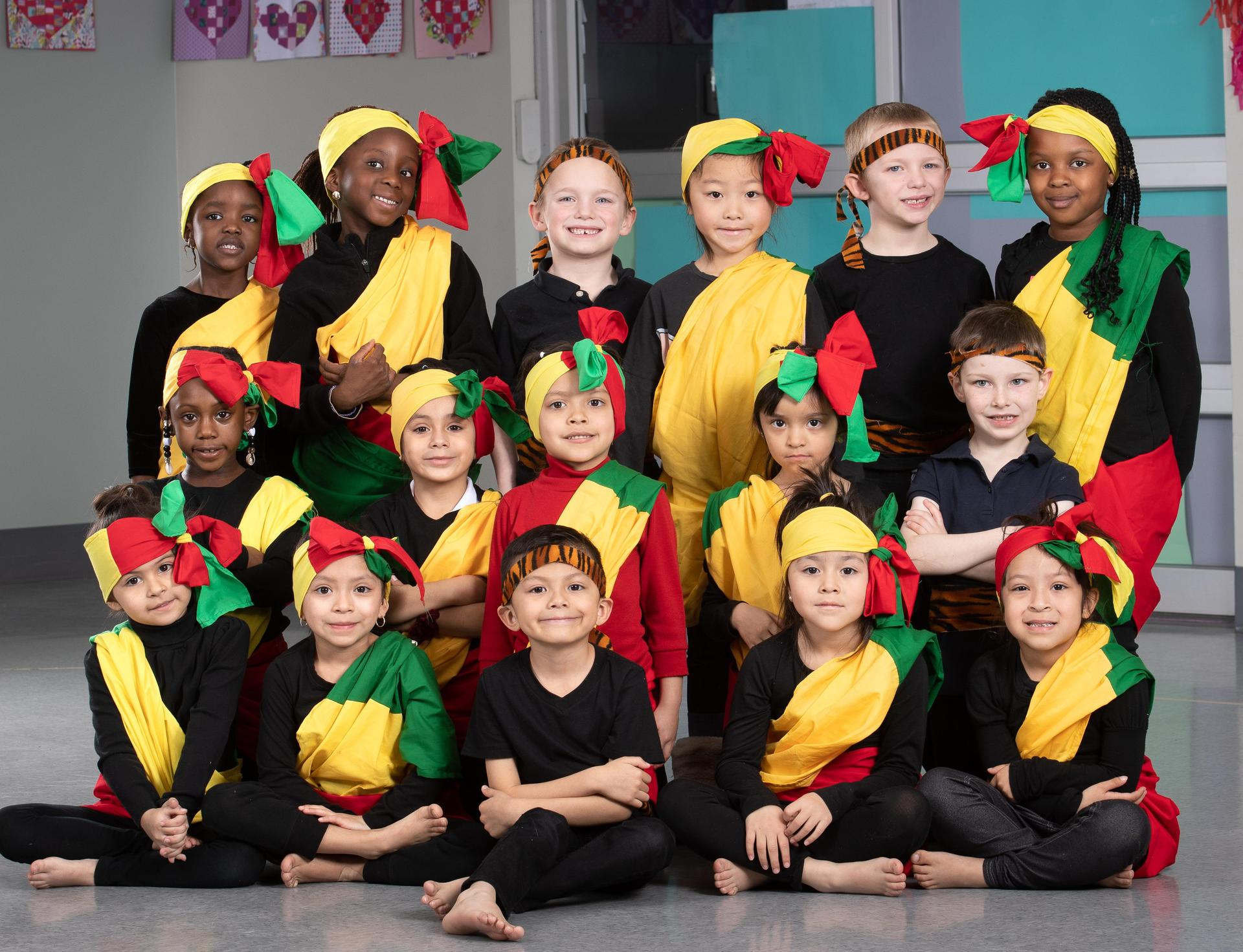 students dressed in Senegal outfits