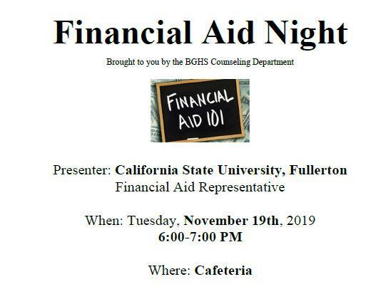 Financial Aid Night - Tuesday, November 19 Featured Photo