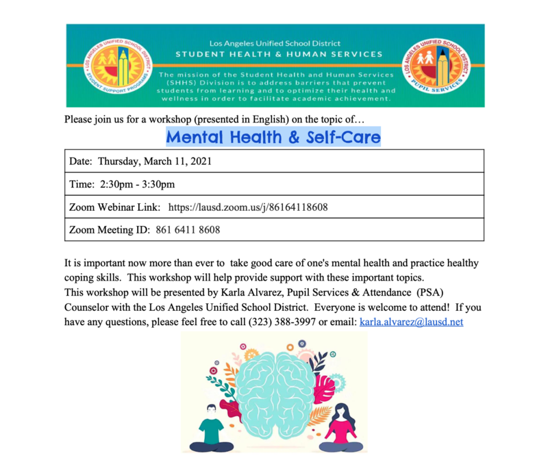 Mental Health & Self-Care Workshop Date: Thursday, March 11, 2021 Time: 2:30pm - 3:30pm Featured Photo
