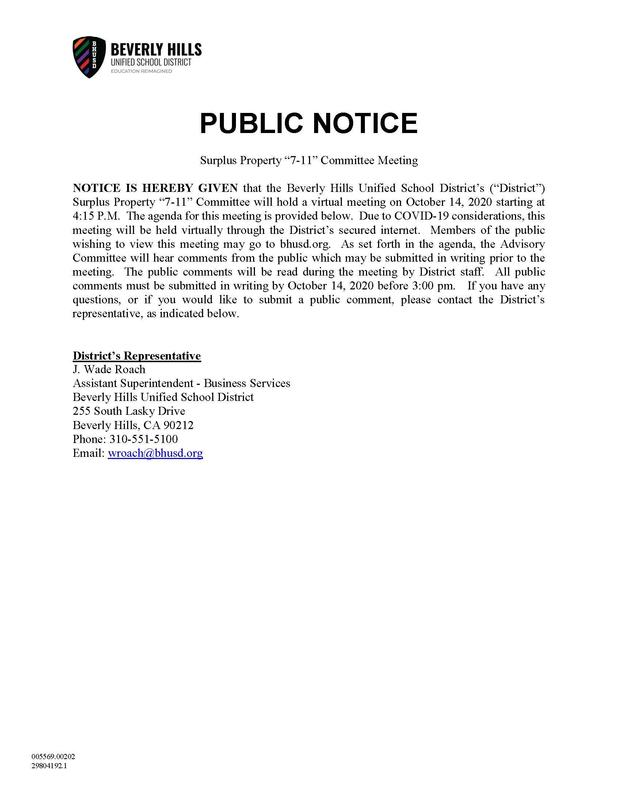 Surplus Property Advisory Committee - Notice of Public Meeting
