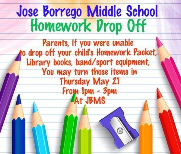 JBMS End of Year Homework Drop Off Information Featured Photo