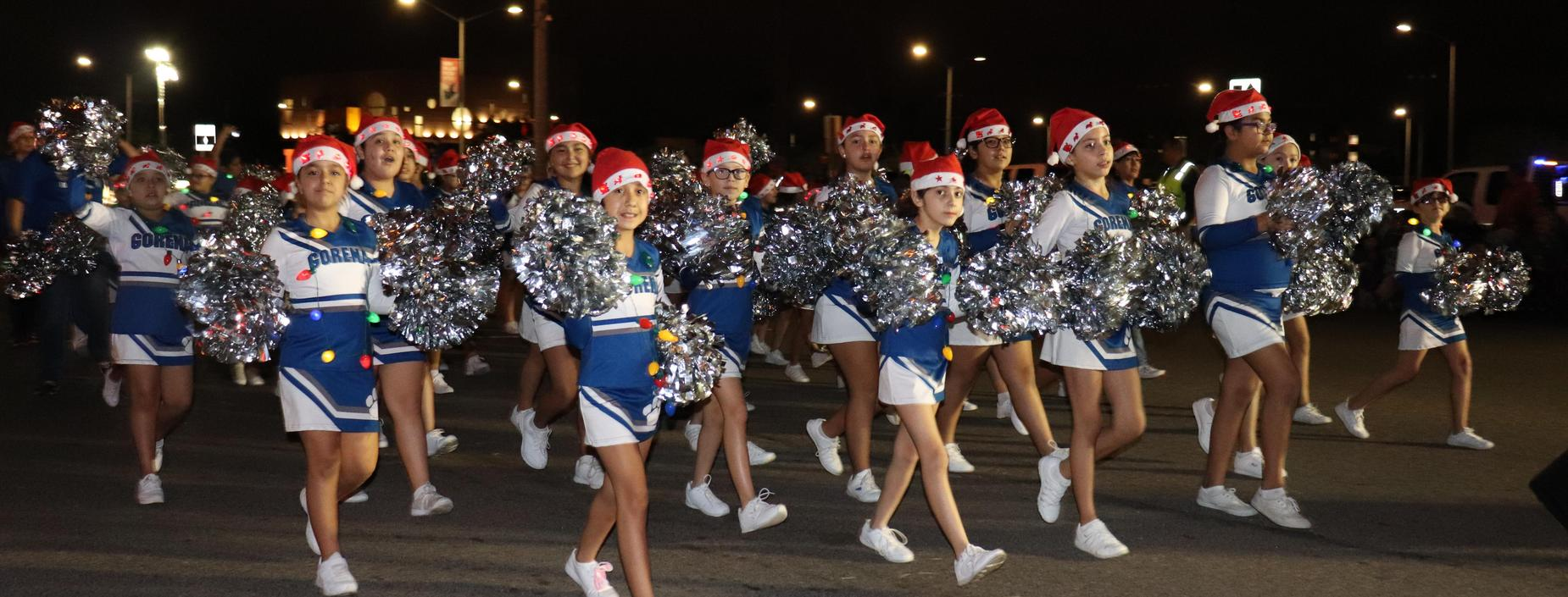 picture of cheer at Night of Lights parade