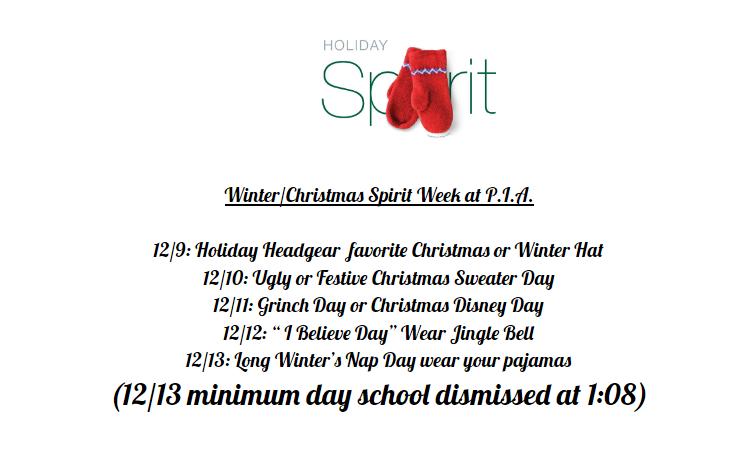 Winter/Christmas Spirit Week