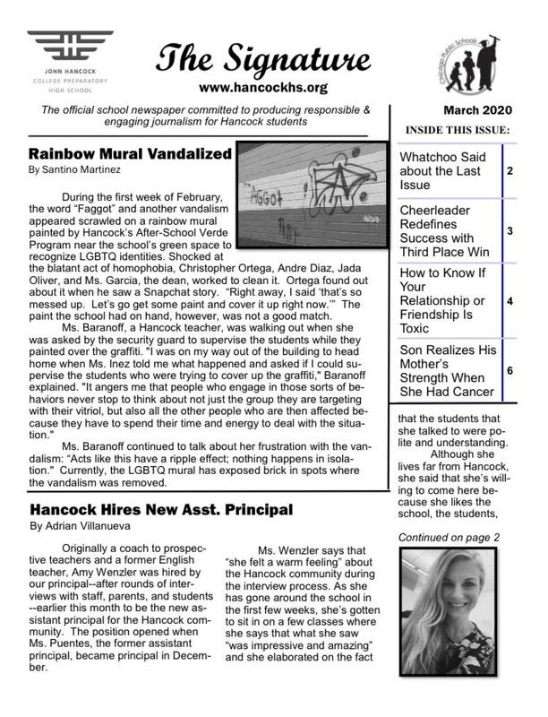 March Issue of School Newspaper