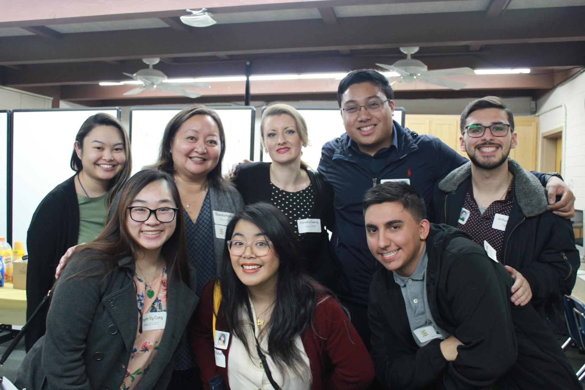 Our Hornet Alumni came back to talk to each class about their careers.  Bottom row from left to right:  Quynh-Vy Cong, Shelley Valdez, Robert Peña Top row left to right: Reliann Viray, Shanida Ingalla, Natasha Zaderay, Tyler Piedad, Anthony Machado