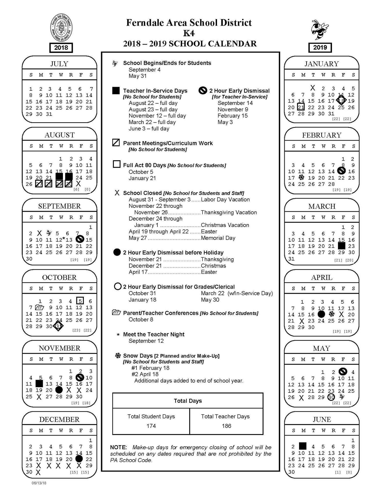 2018 - 2019 K4 School Calendar