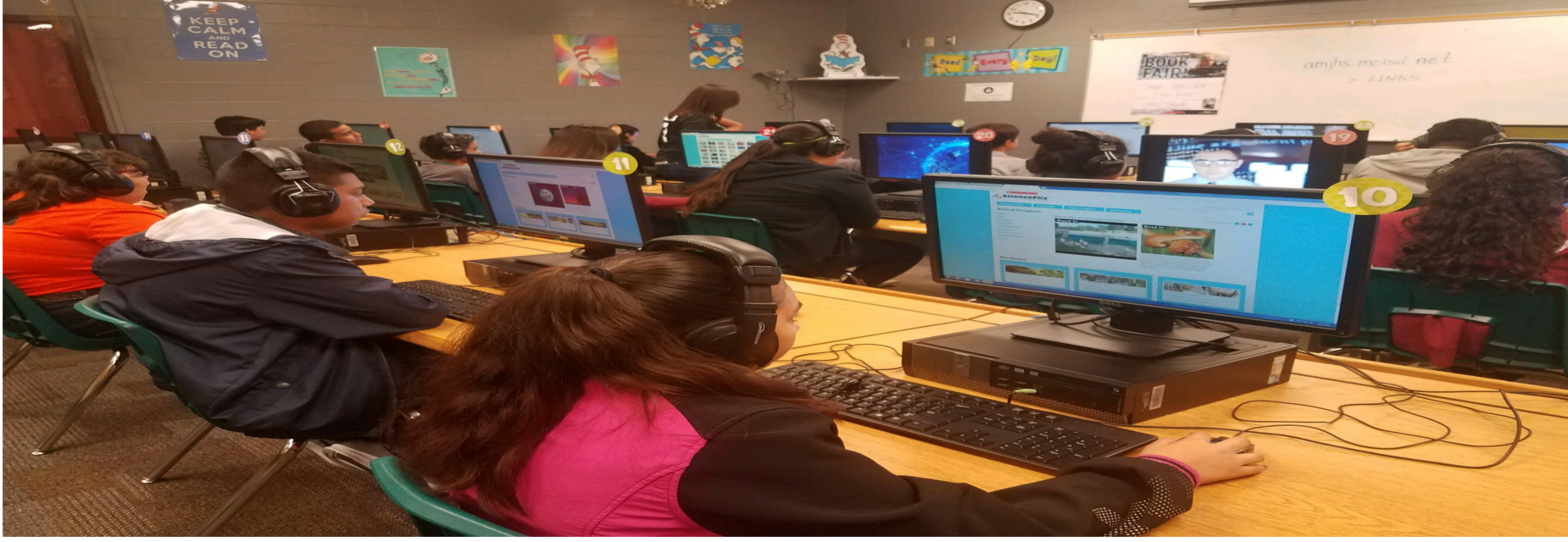 AMJH students using scratch coding
