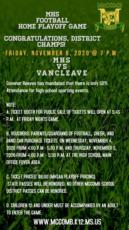 McComb High School Vs Vancleave Football Playoff Game News 2020