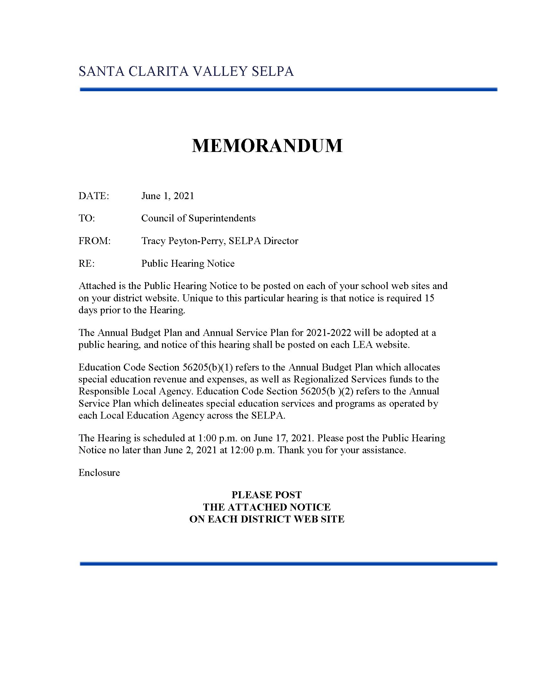 MEMO - SELPA Public Hearing Posting