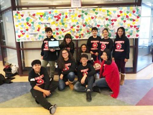 The Whittier Robotics Club members gather for a group photo.