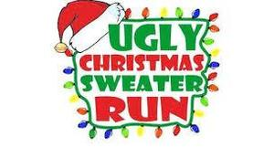 the word ugly sweater run in bright colors, with a string of lights and santa hat