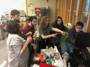 BART students working in the Berkshire School lab