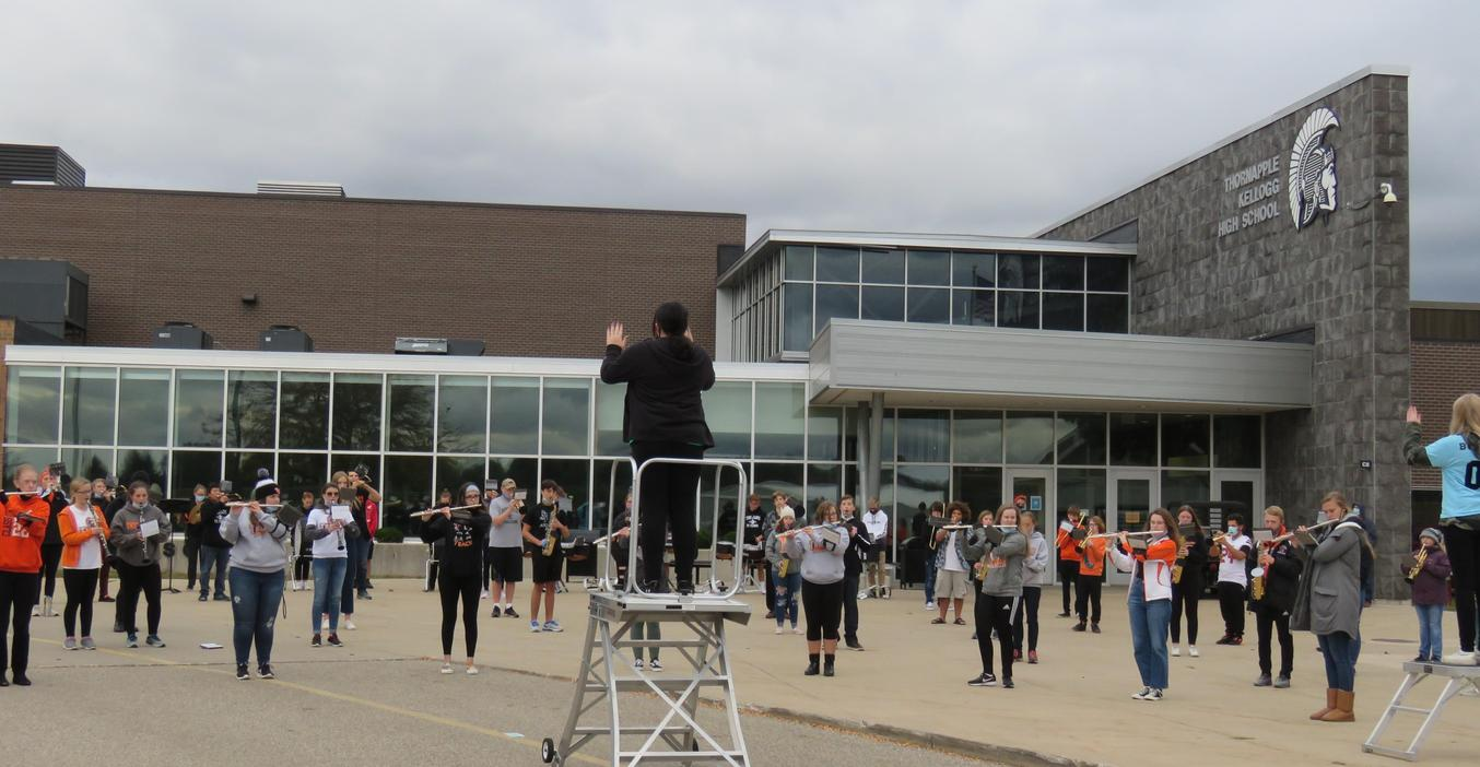The TKHS  marching band performed outside the stadium for the first home game.