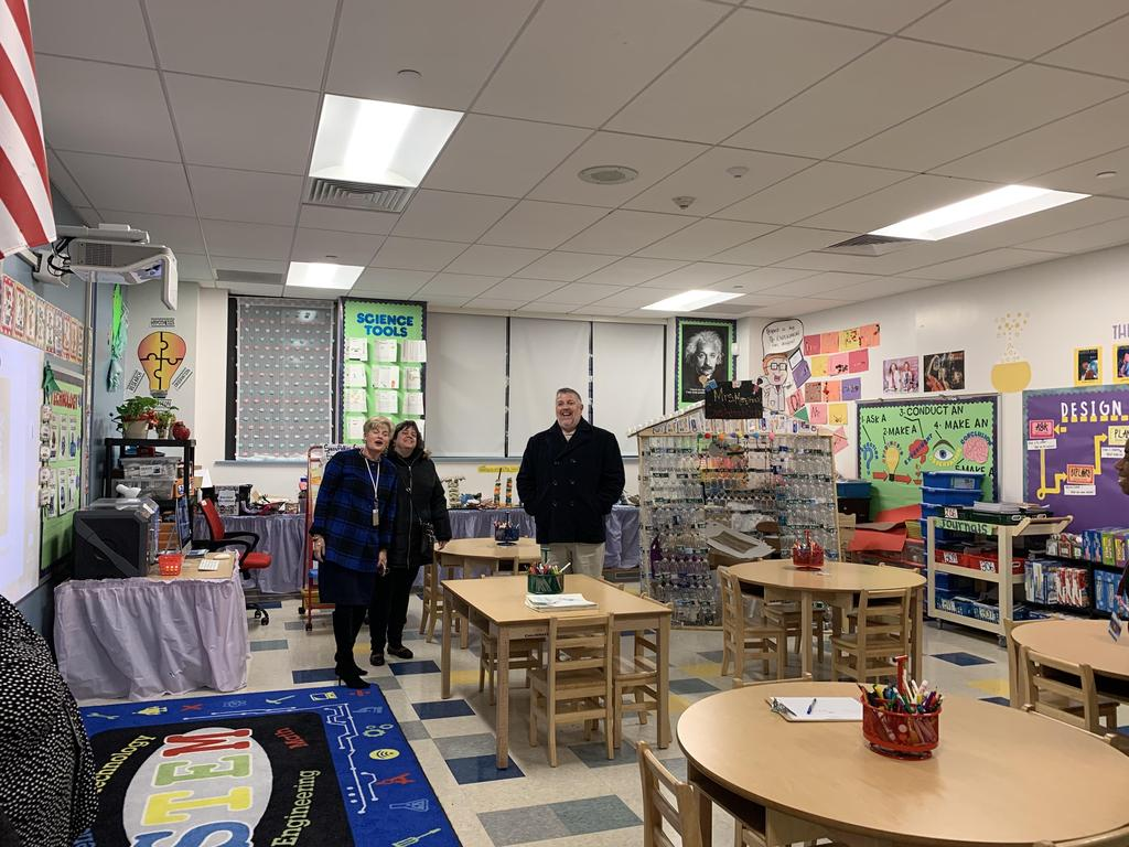 Principal Tamargo with Asst. Supt. Bennetti & Perez inside science room