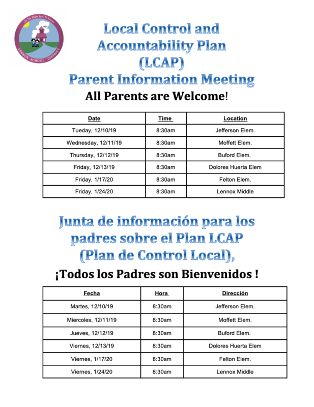 LCAP meeting dates