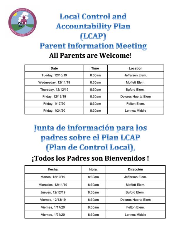 LCAP meeting dates