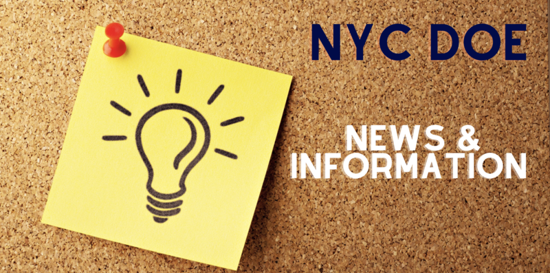 NYC DOE News and Information. Pictured on a corkboard and a sticky note with a light bulb