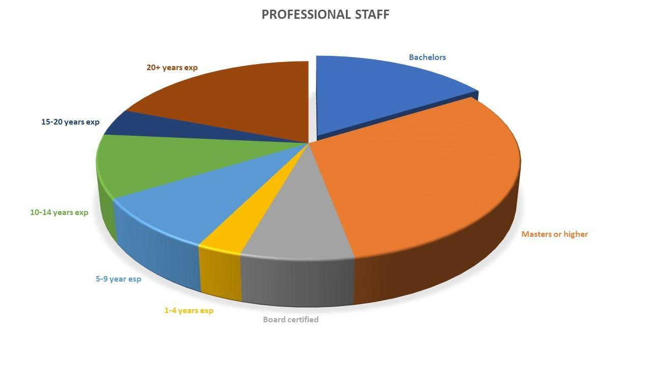 pie chart with facts about faculty/staff