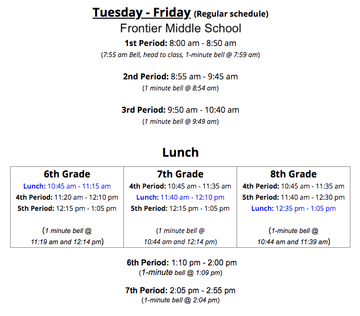 FMS Regular Bell Schedule (Text version available on FMS website)