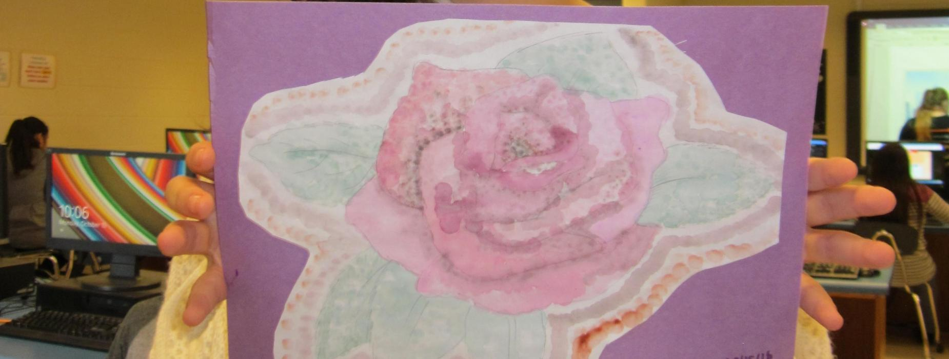 watercolor rose student work