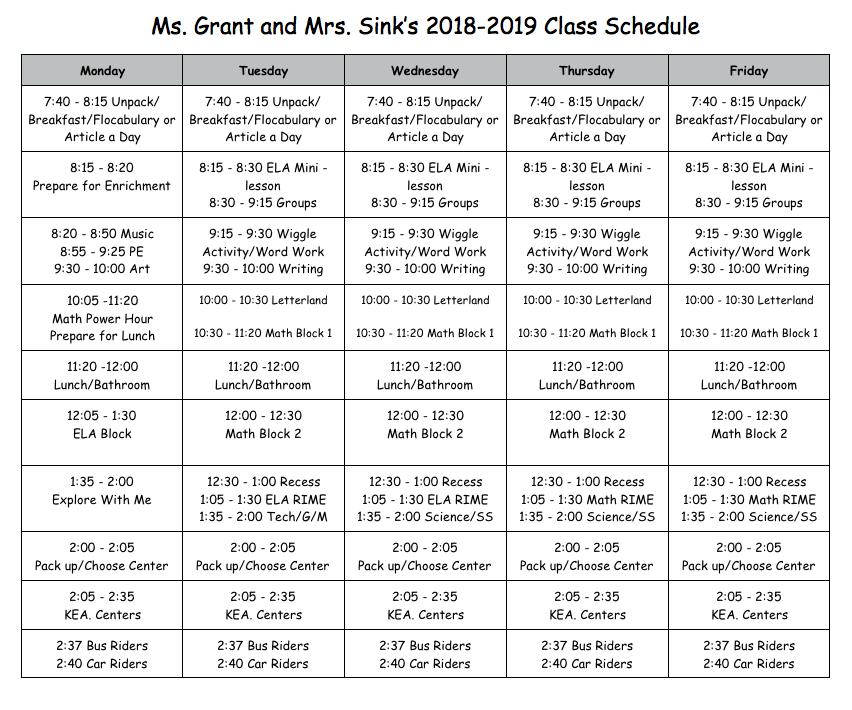 2018-19 Class Schedule
