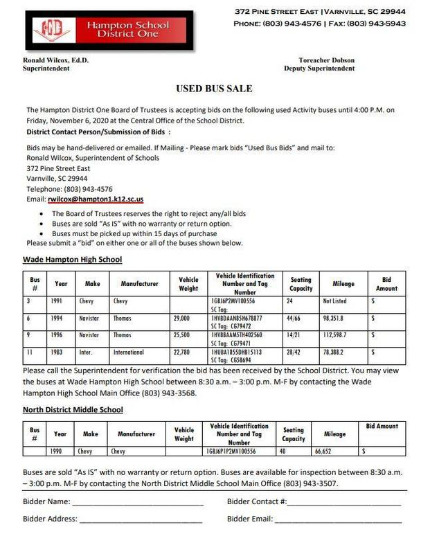 Bids for Activity Buses