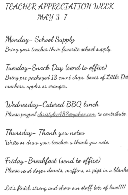 Teacher Appreciation Week at BES Thumbnail Image