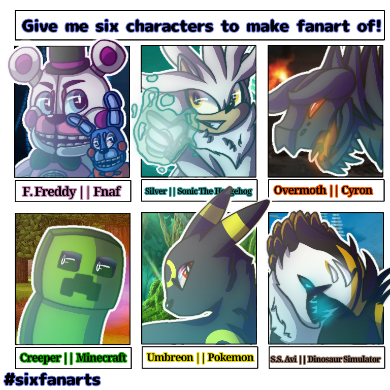 There has been a challenge going around for artists to make six fanarts of characters you like. In this artwork, I drew characters from games that I love to play during these hard times.