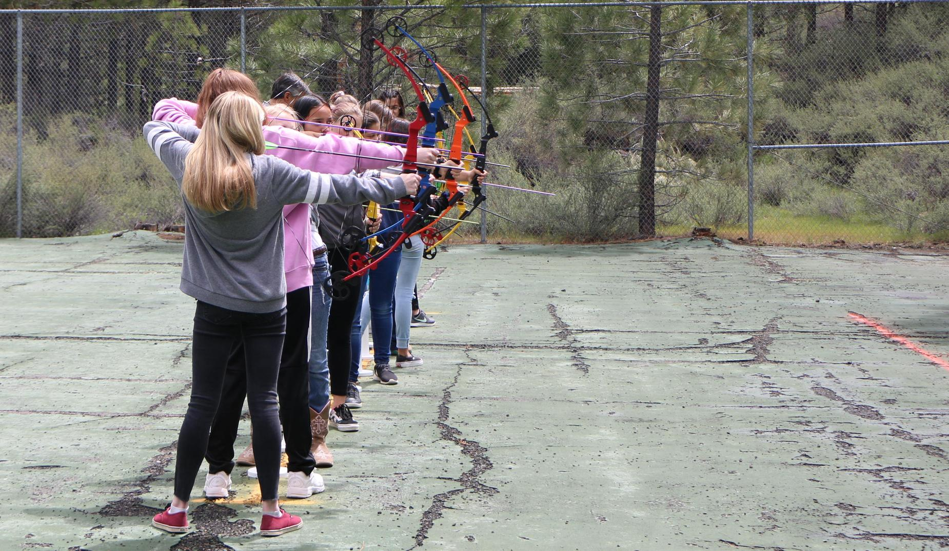 Portola High School Students practice archery