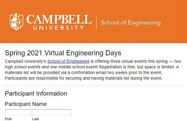 Spring 2021 Virtual Engineering Days for High School & Middle School Students Featured Photo