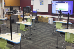 Miss Webb's class is ready to start the day! New supplies and desk shields in place for each student.
