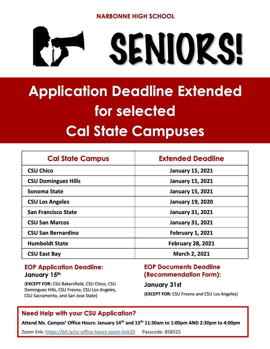 CSU Deadlines