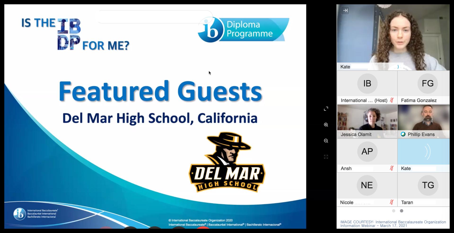 del mar students featured in ib international webinar on march 17 2021