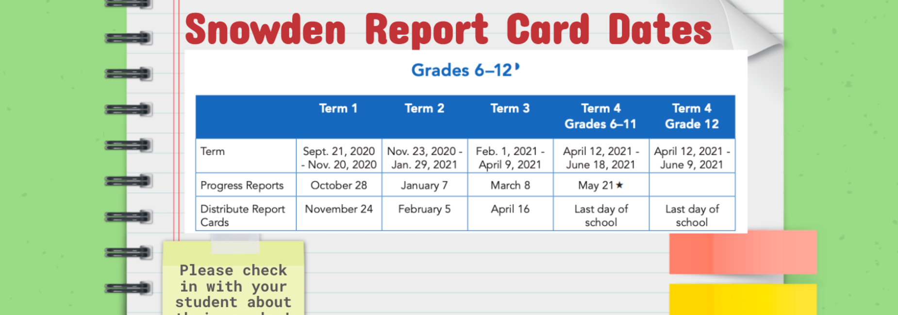 Snowden Report Card Dates