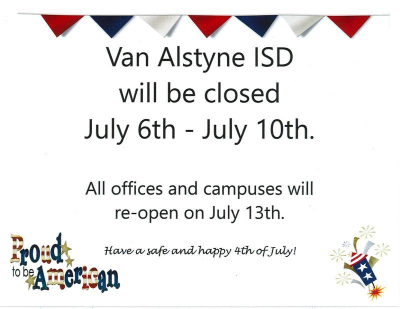 VAISD closed July 6-10 Thumbnail Image
