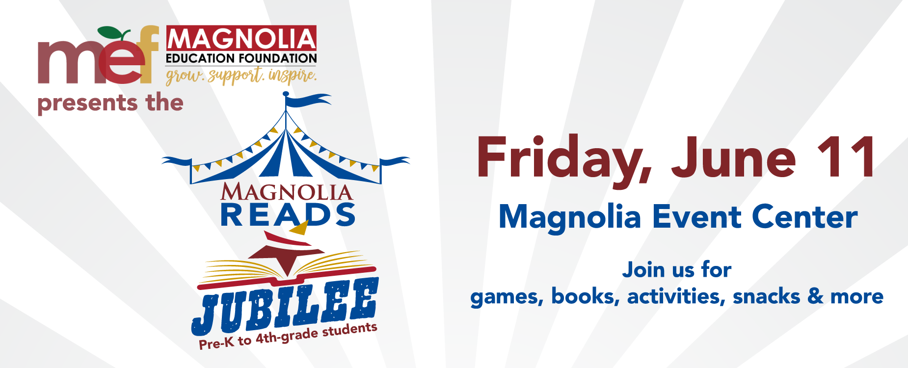 Free book festival, Magnolia Reads Jubilee, June 11