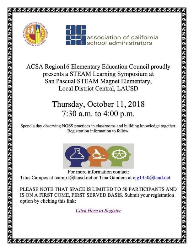 ACSA R-16 and San Pascual ES STEAM Learning Symposium Featured Photo