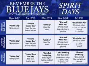 Homecoming list of spirit days (see full story for complete listing)