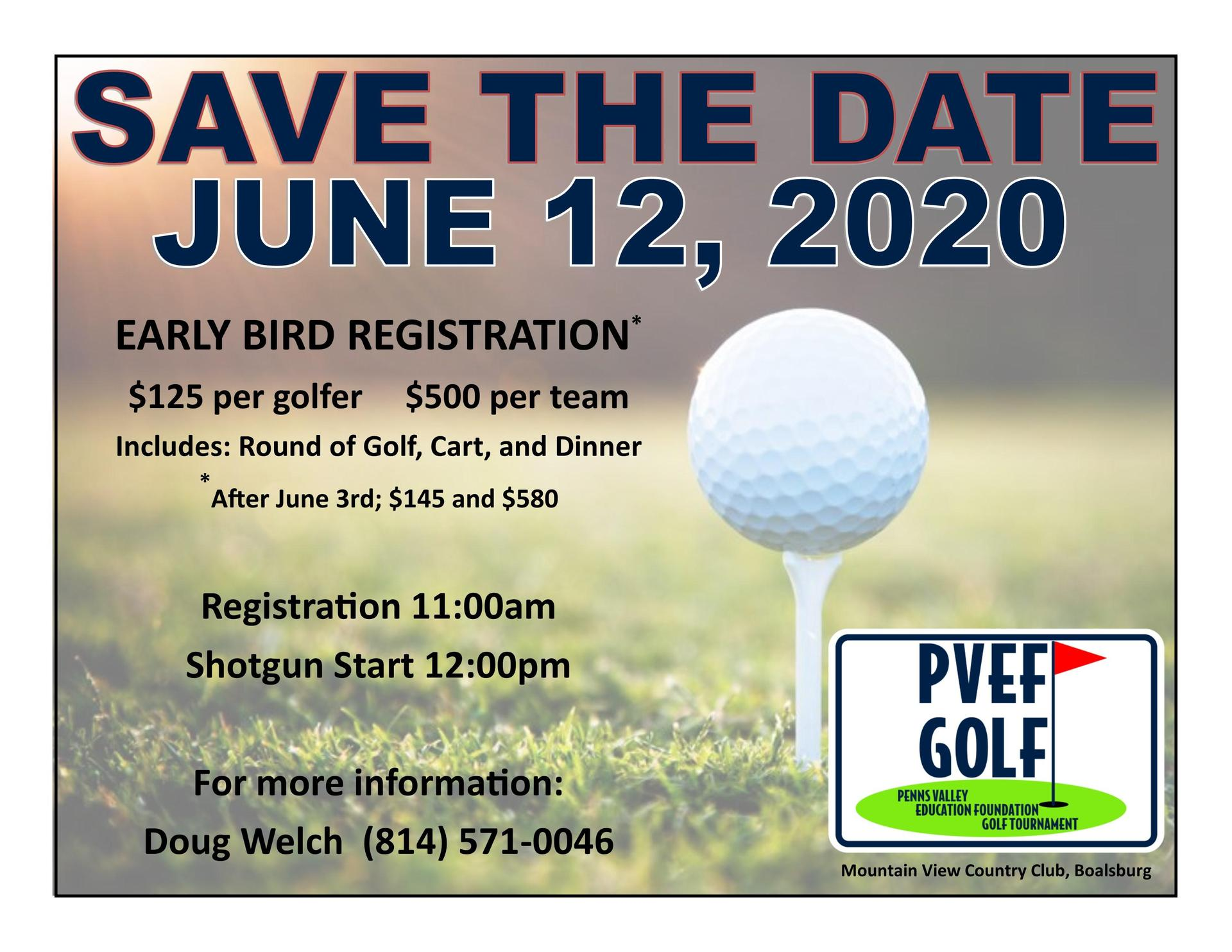 2020 PVEF Save the date Golf Tournament