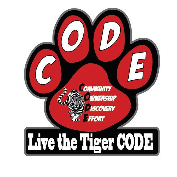 Picture of the CSMS Tiger Paw Logo which says Live the CODE