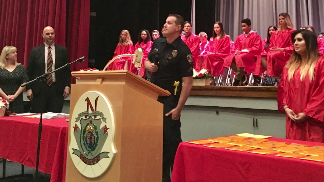 Officer speaks out at ceremony
