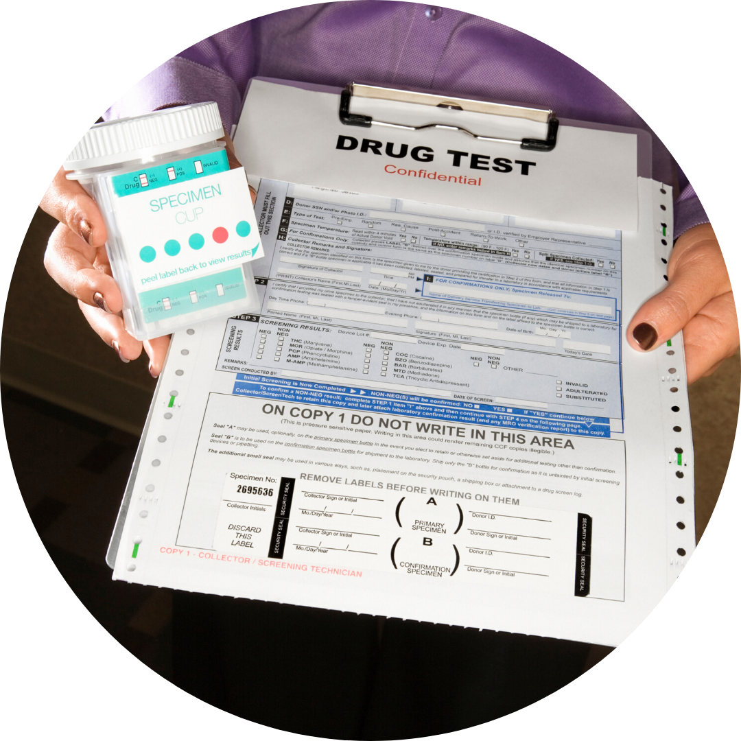 clipboard with drug test paperwork & specimen cup