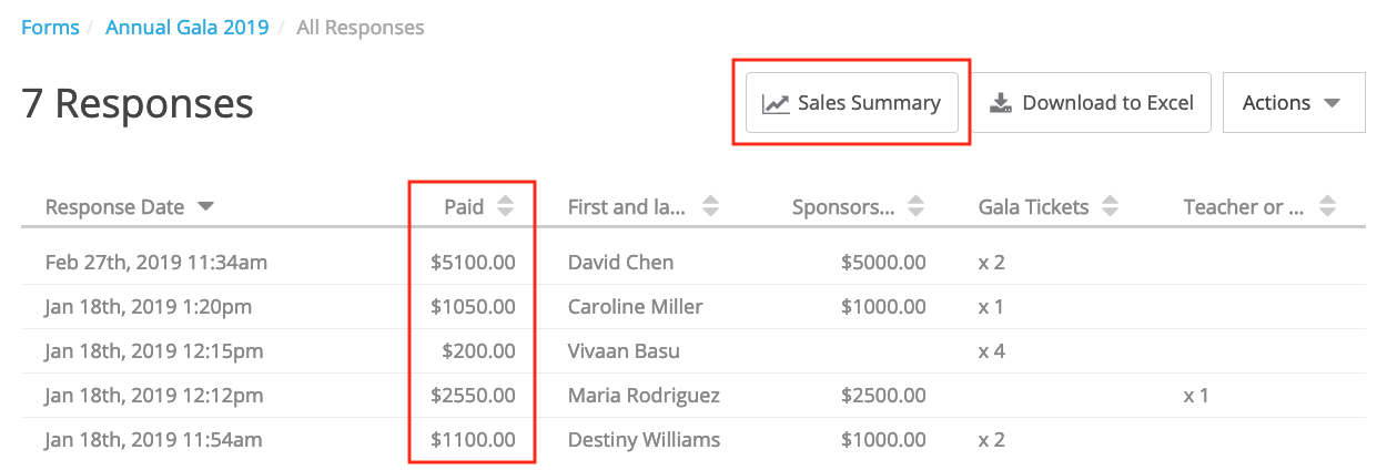 column for Paid and button for sales summary