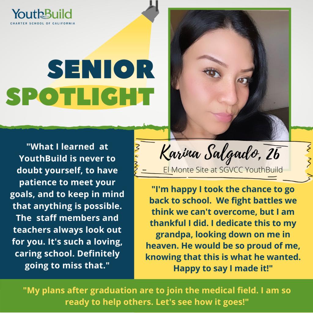 Senior Spotlight for graduate Karina Salgado