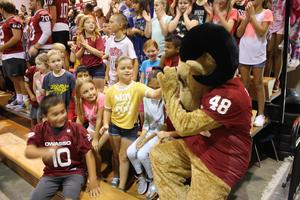 Rambo with the Smith Elementary children