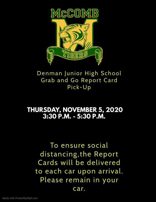 Denman Junior High School Grab and Go Report Card Pick-Up News 2020
